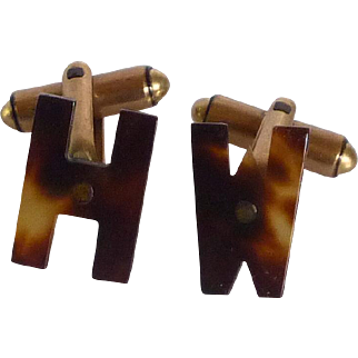 Faux Tortoise Shell Initials HW or WH Cufflinks Cuff Links