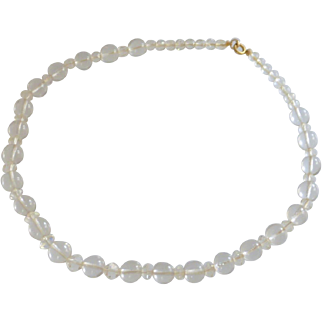 Clear Glass Beaded Single Strand Necklace