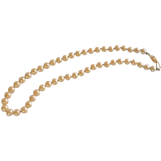 Off White Single Strand Pearl Beaded Necklace