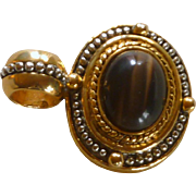 Silver and Gold Tone Setting with Brown Cabochon  Pendant