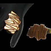 Abstract Copper Mid Century Cuff Links Cufflinks