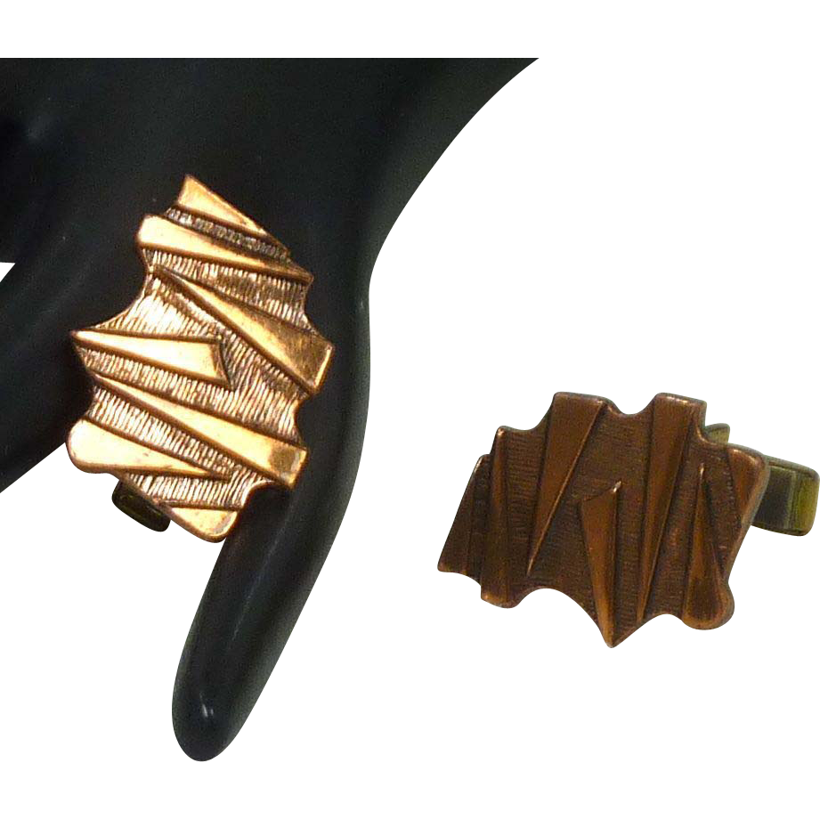 Abstract Copper Mid Century Cuff Links Cufflinks