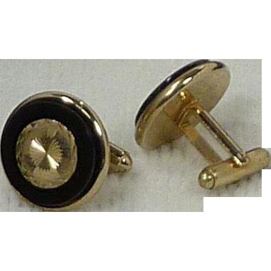 Round Faceted Gold Tone Center Black Glass Rim Cufflinks Cuff Links