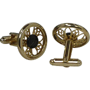 Gold Tone Round Faux Filigree Border Black Glass Cuff Links Cufflinks