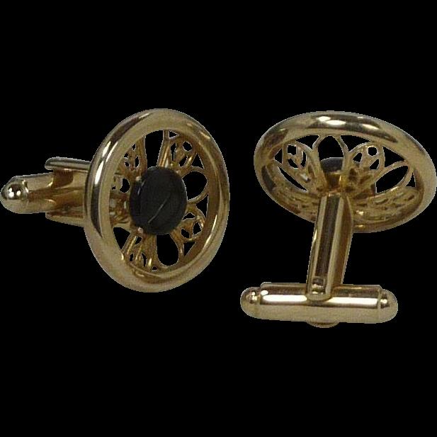 Gold Tone Round Faux Filigree Border Black Glass Cuff Links Cufflinks