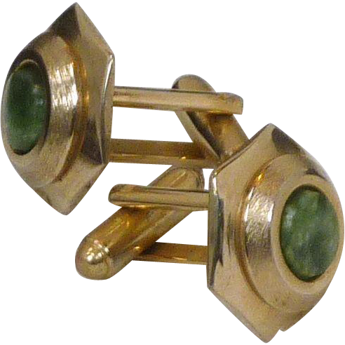 Round Brushed Gold Tone with Green Stone Cuff  Link  Cufflink