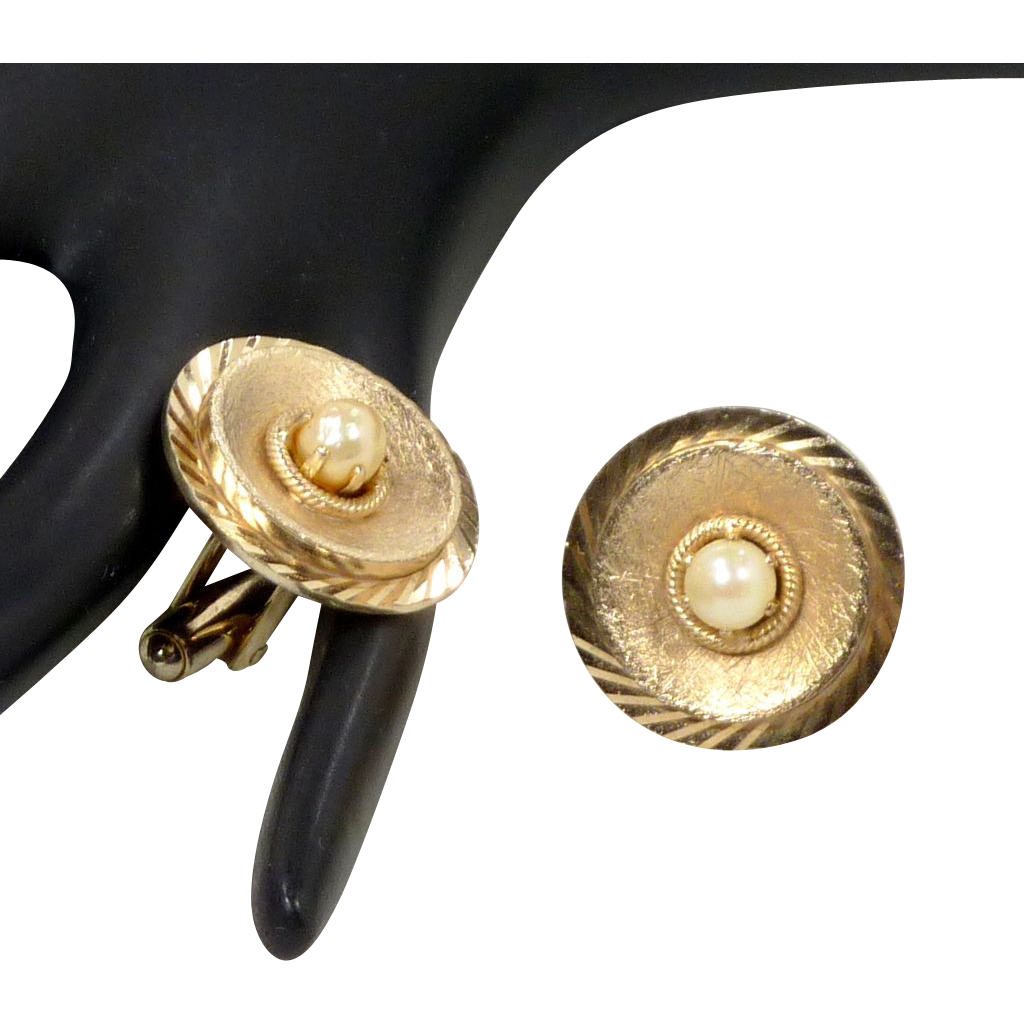 Dante Round Brushed Gold Tone with Faux Pearl Cuff Links Cufflinks