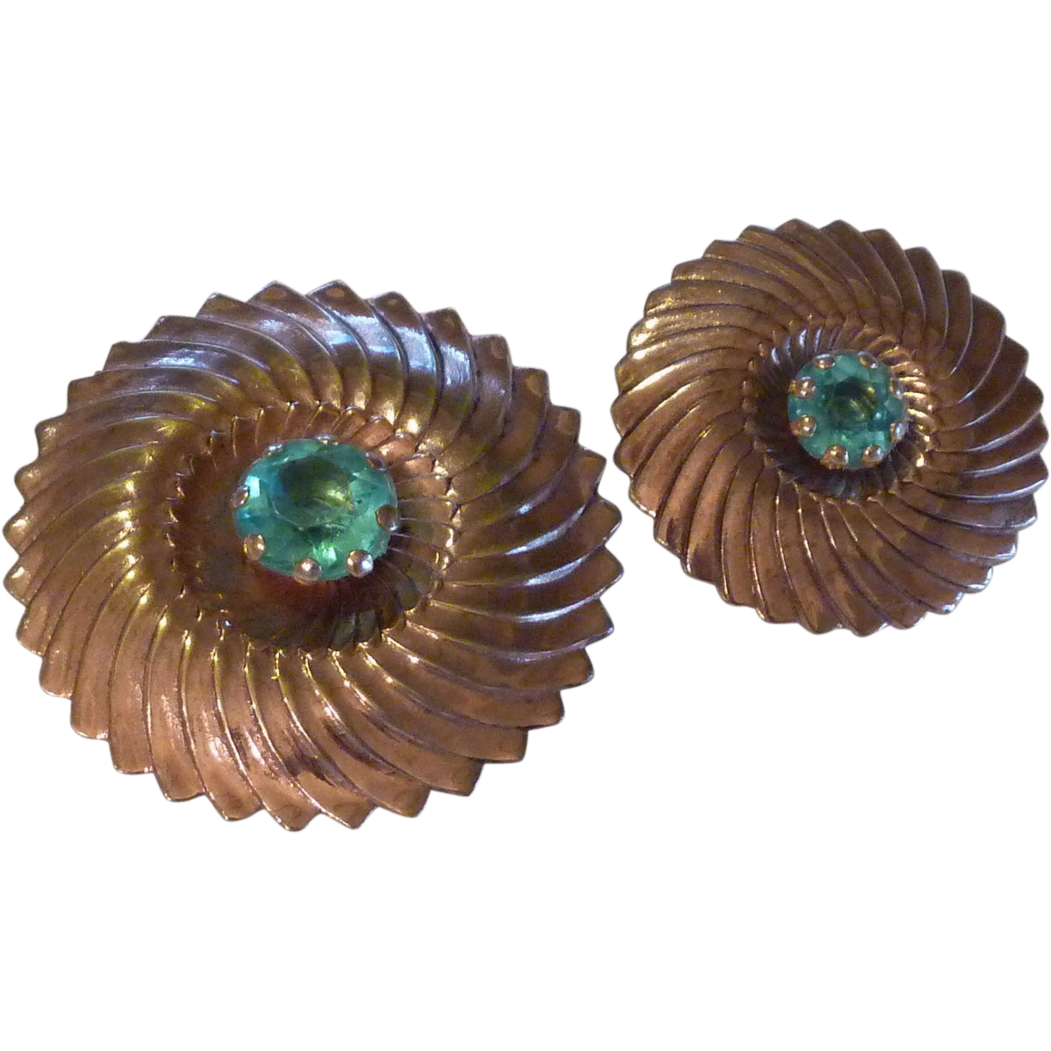 Set of Copper Circular Vintage Dress Pins Mid Century