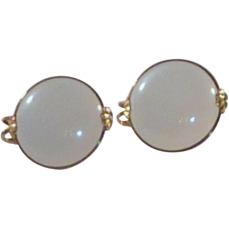 Gold Tone White Slip On Earrings