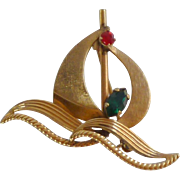 Gold Filled Van Dell Sailboat Pin Brooch