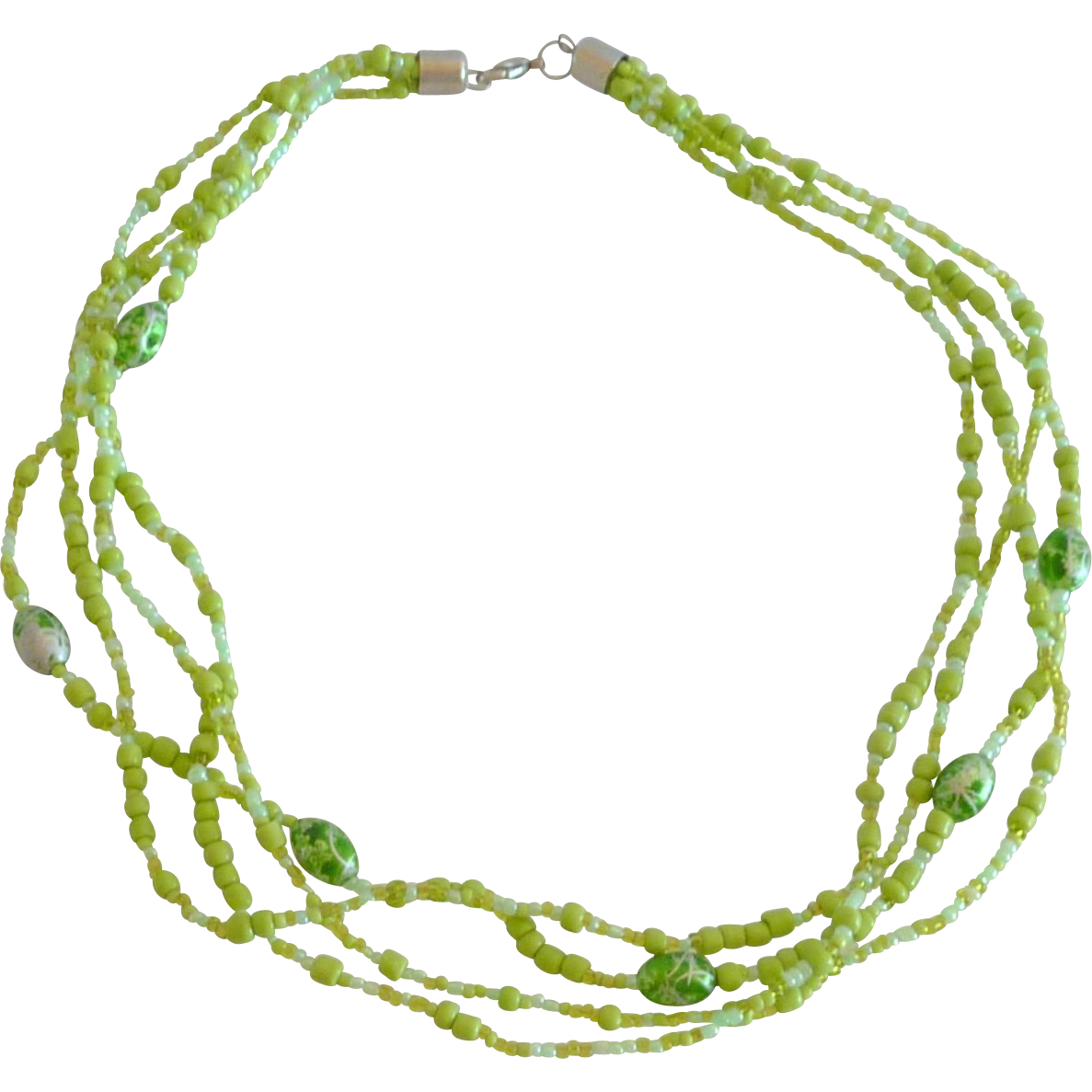 Lime Green Multi Strand Glass Seed Bead Necklace