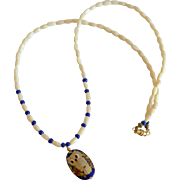 Mother Of Pearl Necklace with Cloisonne Owl Pendant