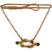 Two Tone Love Knot Tie Bar Chain 1940's