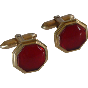 Hickok Rolled Plate Red Cufflinks Cuff Links
