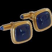 Krementz Gold Tone Blue Cuff Links Cufflinks