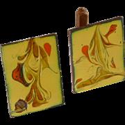 Abstract Design Yellow Enamel Copper Cufflinks Cuff Links