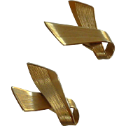 Cora Gold Tone Ribbon Clip On Earrings