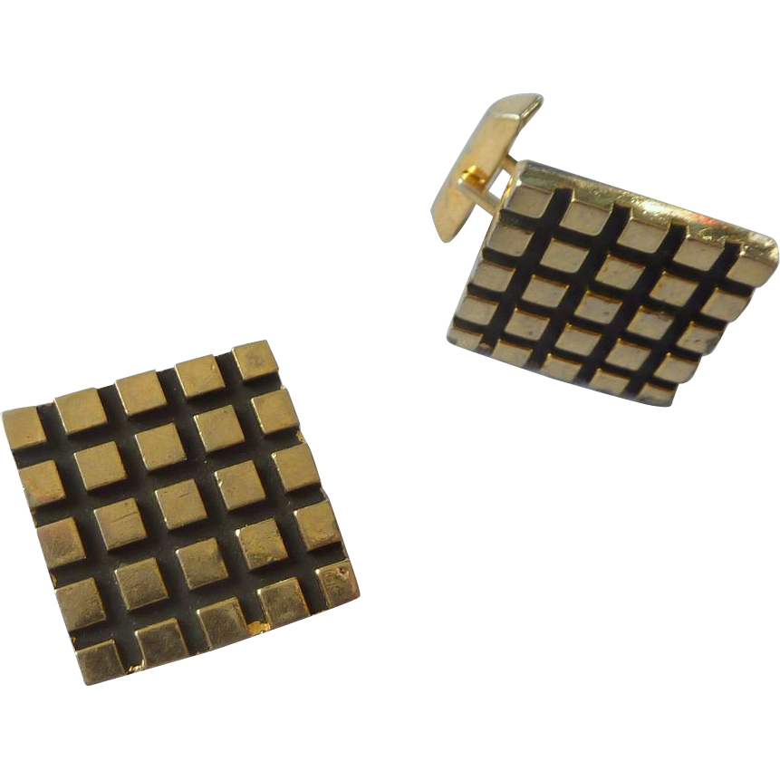 Gold Tone and Black Accent Checkerboard Square Cufflink Cuff Links