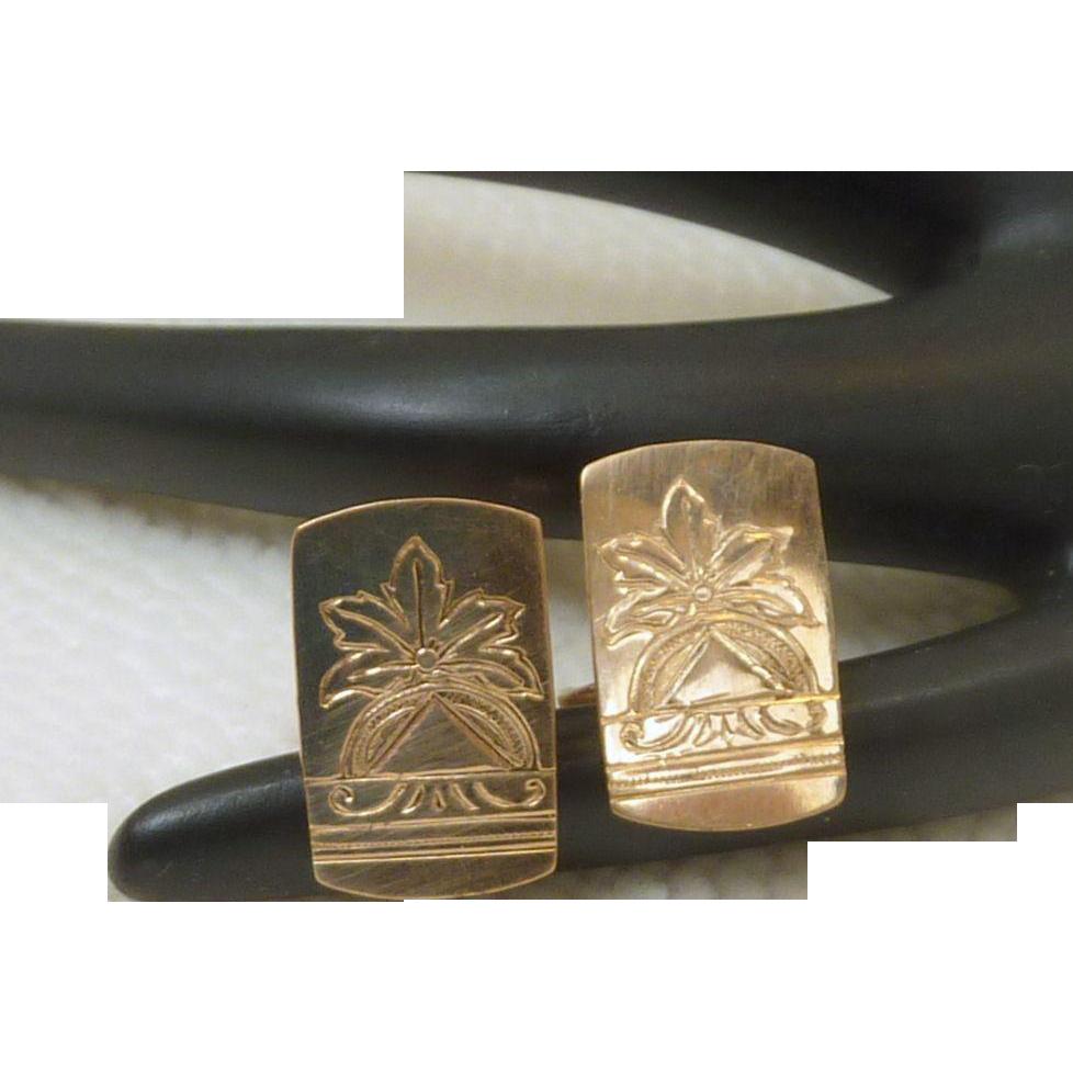 Vintage Engraved Victorian Gold Filled Cufflinks Cuff Links