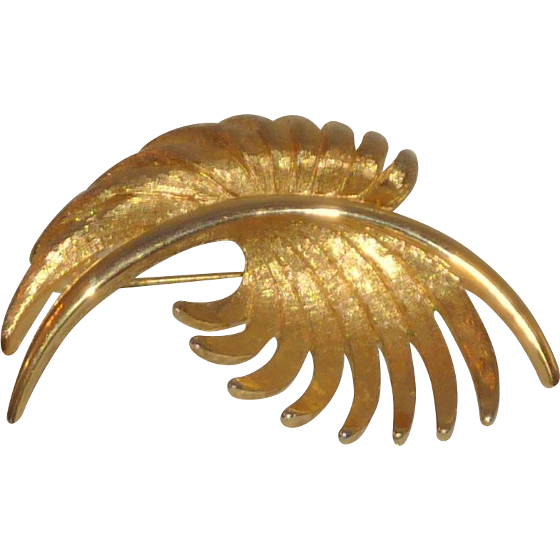 Monet Signed Gold Tone Leaf Shape Brooch Pin