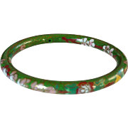 Green Floral Enamel Cloisonné Bangle Bracelet