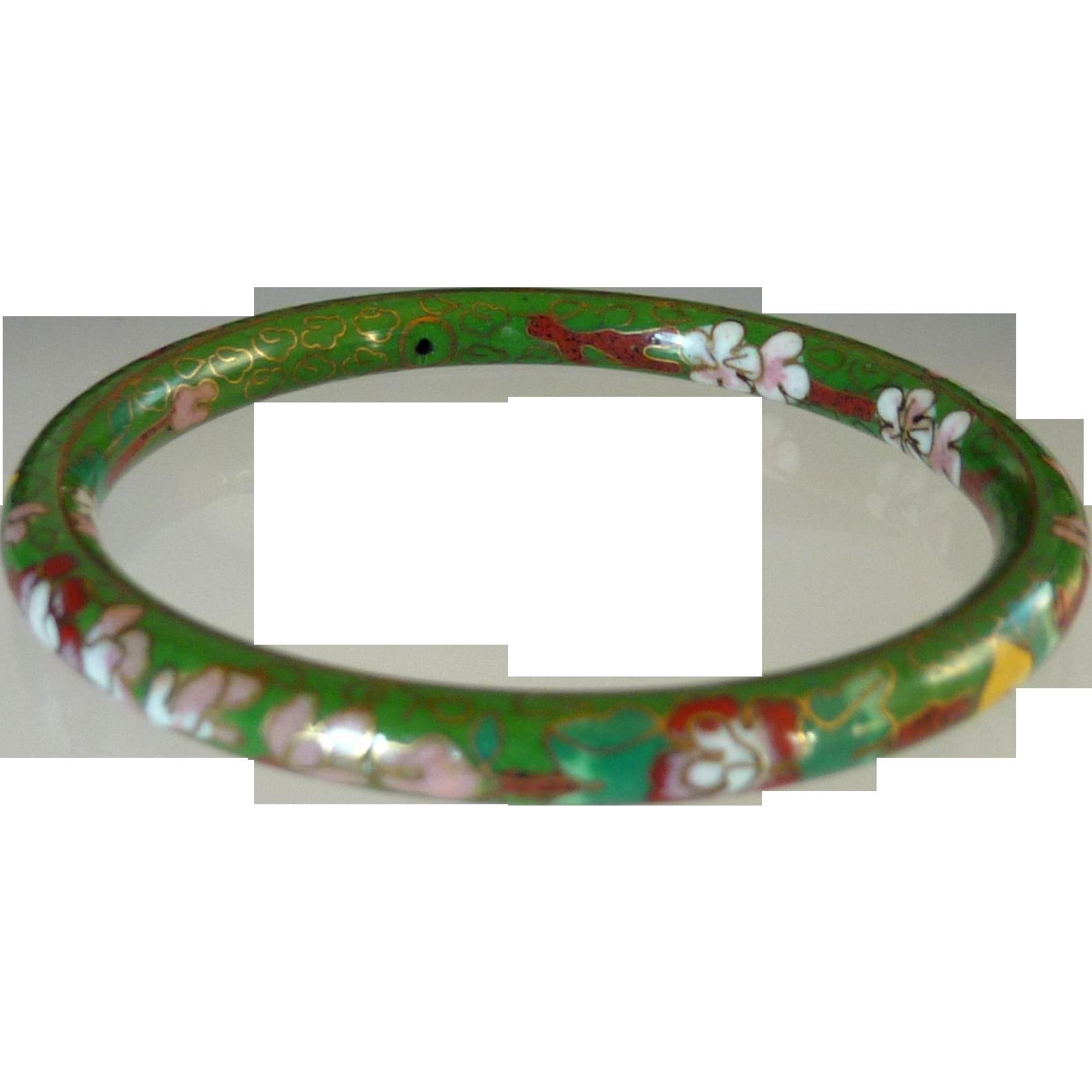 Green Floral Enamel Cloisonné Bangle Bracelet