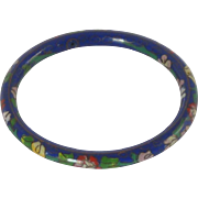 Blue Floral Enamel Cloisonné Bangle Bracelet