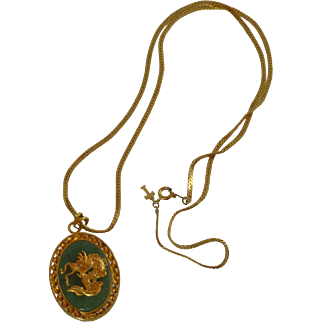 Trifari Tag Gold Tone Necklace and Green Asian Pendant