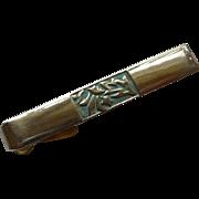 Brass Patina Gold Tone Alligator Clip Tie Bar