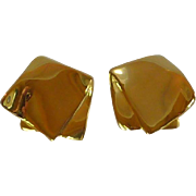 Large Gold Tone Square Clip On Earrings