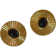 Gold Tone Black Center Clip On Earrings