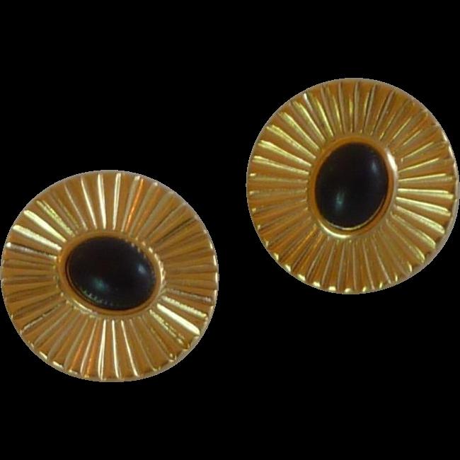 Gold Tone Black Center Clip On Earrings