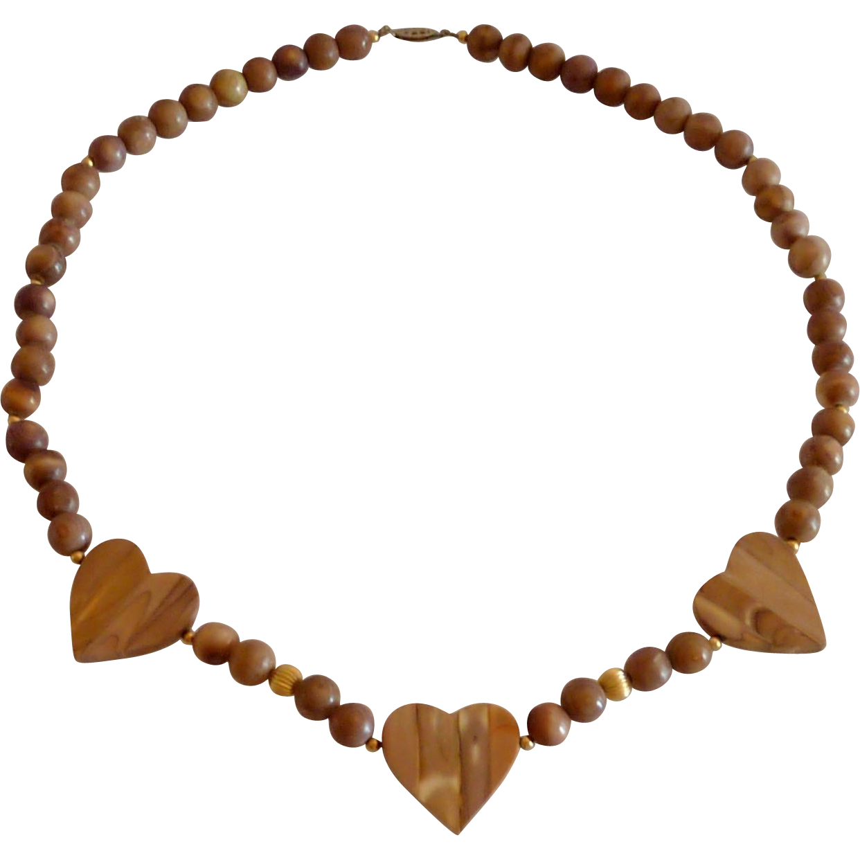 Tan Brown Heart Necklace with Gold Tone Beads