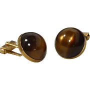 Faux Brown Moon Glow Swank Cufflinks Cuff Links 1950's