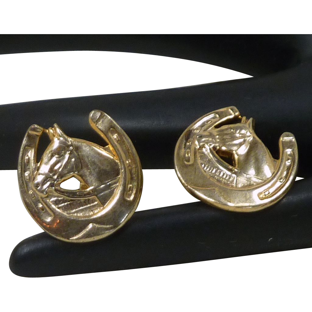 Horseshoe and Horse Swivel Foot Gold Toned Cuff Links Cufflinks