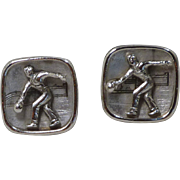 Anson Bowling Bowler Silver Toned Cuff Links Cufflinks