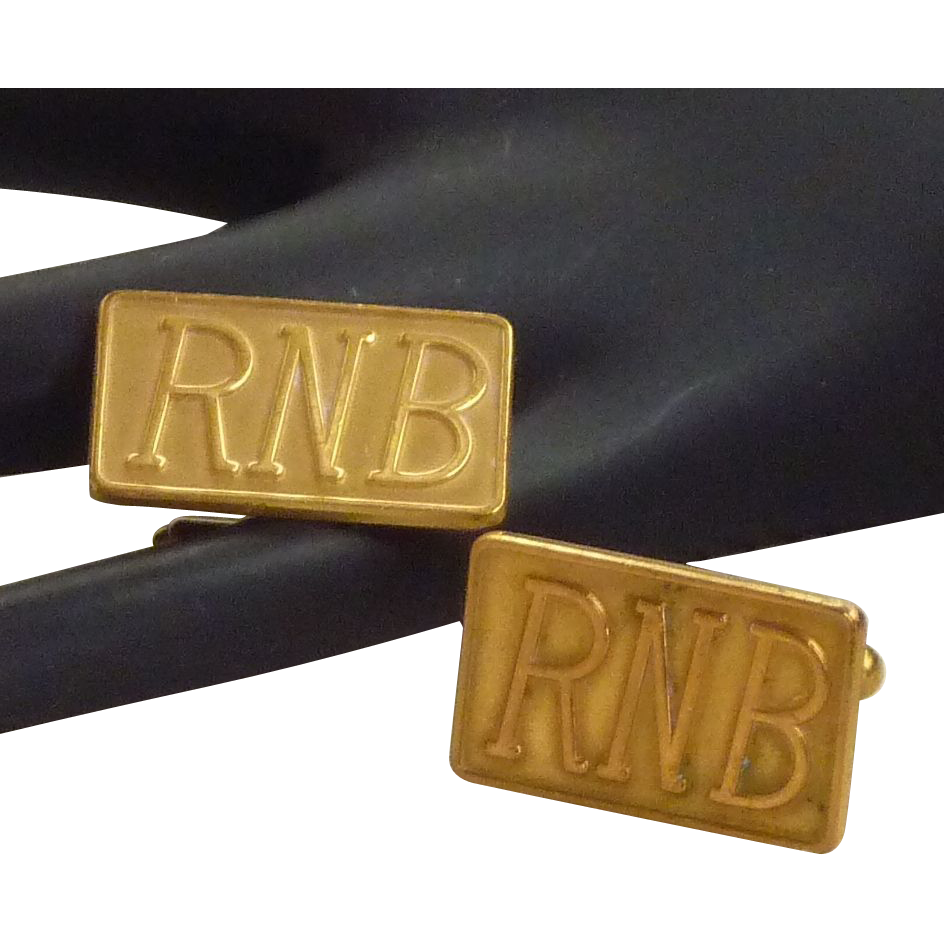 RNB  Initials Gold Tone Rectangle Cufflinks Cuff Links