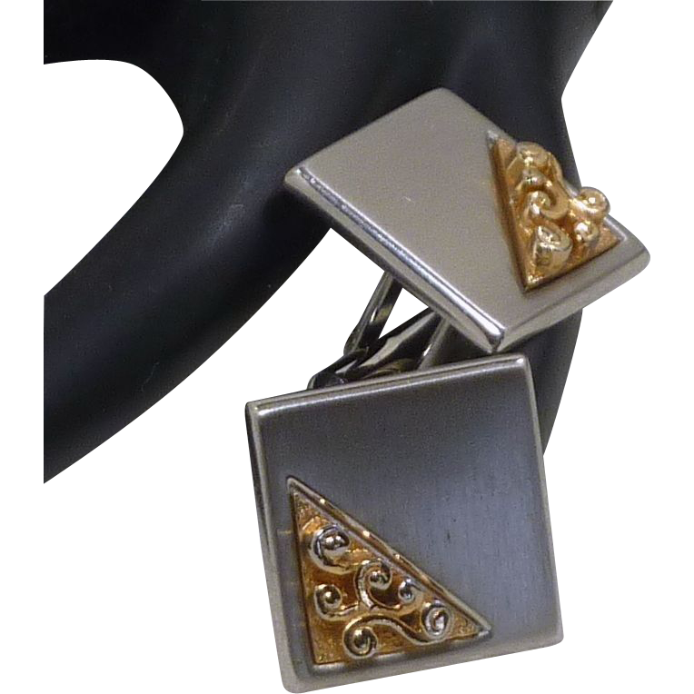 Swank Silver Gold Two Toned Square Cufflinks