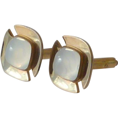 White Moonglow Thermoplastic Gold Toned Cufflinks Cuff Links