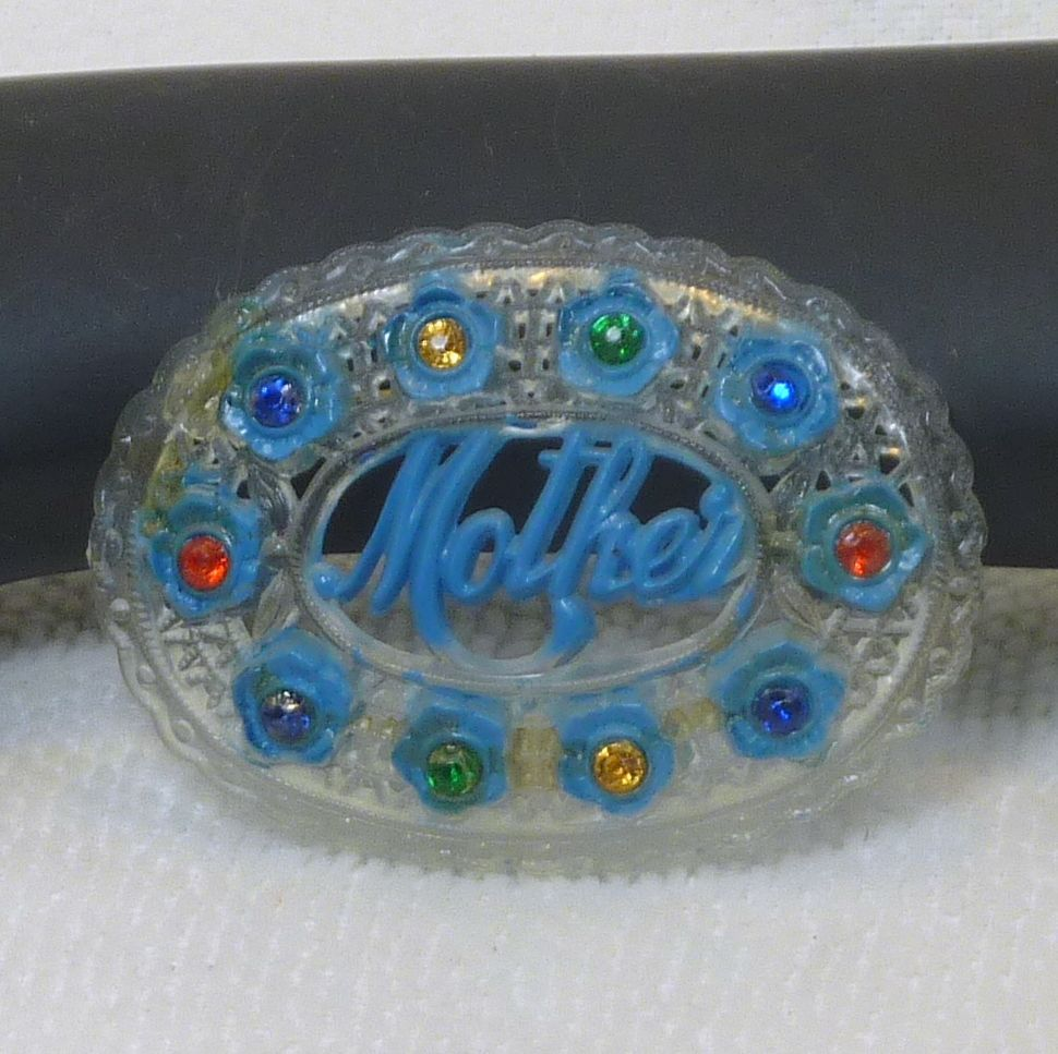 1930's Mother Pin Brooch with Rhinestones