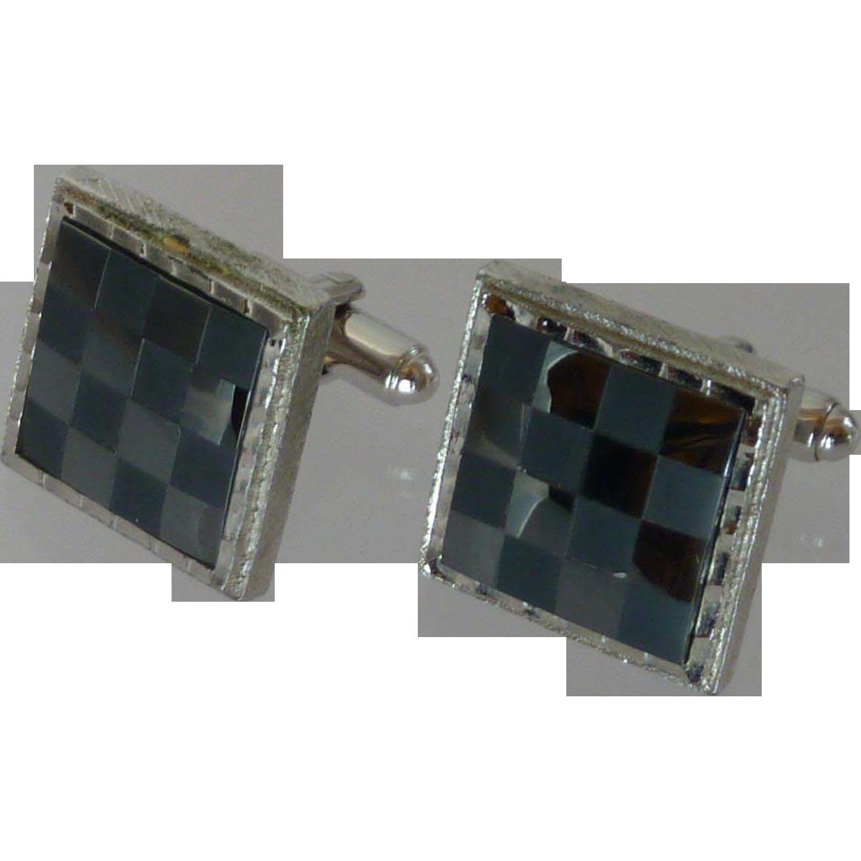 Dante Checkerboard Black and Silver Tone Cuff Links Cufflinks