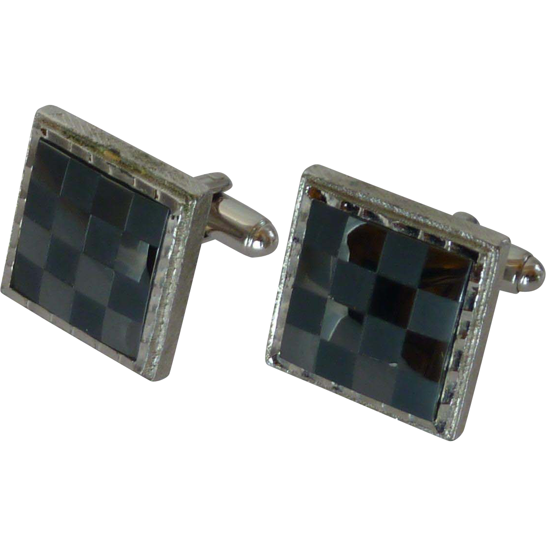 Dante Checkerboard Black and Silver Tone Cuff Links Cufflinks