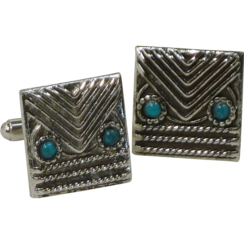 Abstract Owl Design Blue Silver Tone Cufflinks Cuff Link