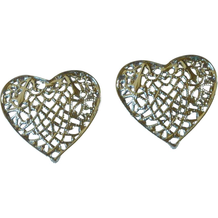 Silver Tone Large Filigree Heart Clip on Earrings