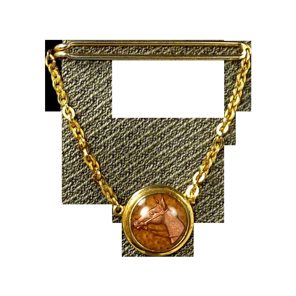 Swank Equestrian Horse Tie Chain Bar Clip 1930's