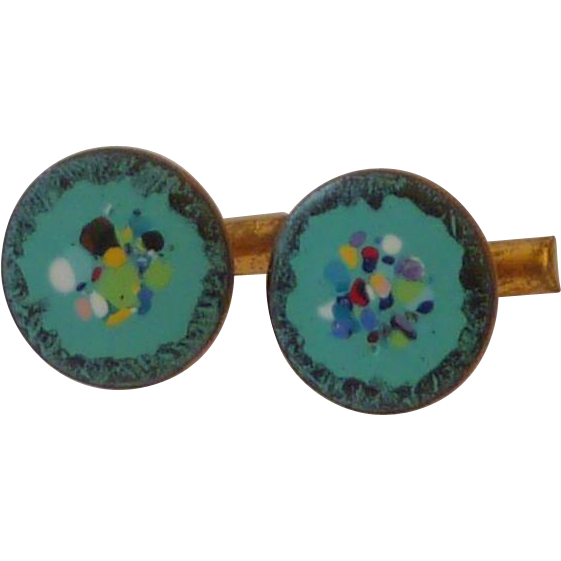 Aqua Blue Enamel Copper Cuff Links Cufflinks