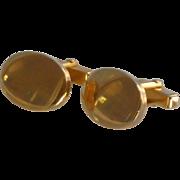 Anson Plain Polished Gold Tone Oval Cufflinks Cuff Links