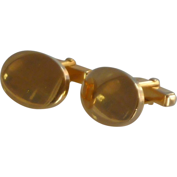 Anson Plain Polished Gold Tone Oval Cufflinks Cuff Links