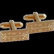 Gold Tone Rectangle Floral Pattern Cuff Links Cufflinks