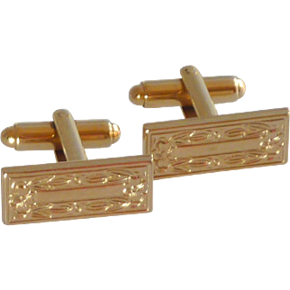 Gold Tone Rectangle Floral Pattern Cuff Links Cufflinks